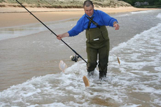 Steve Souters light tackle tactics bag a triple hit of shore Turbot.