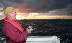 Bass fishing at dusk off Alderney