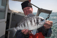 Charter skipper, Dickie Leggett with a cracking Littlehampton Black Bream.